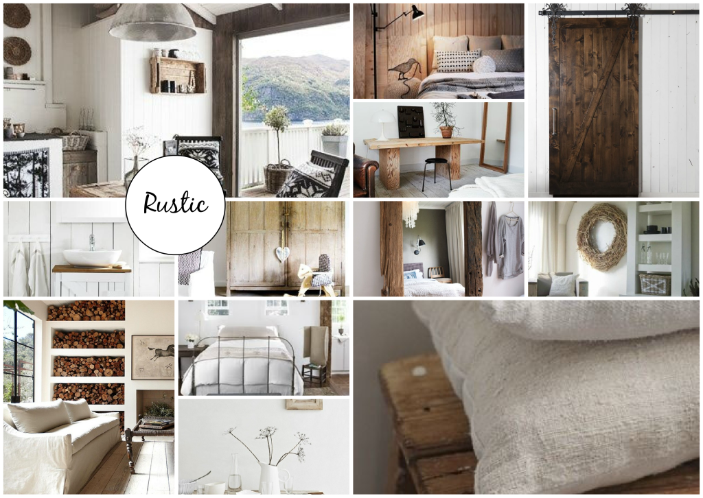 rustic details in interior design mood board created on
