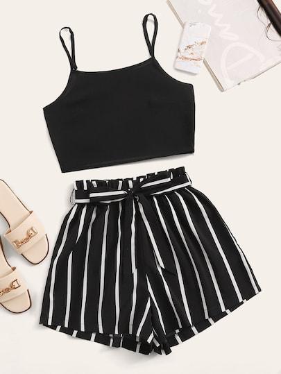 Crop Cami Top With Striped Self Tie Shorts [swtwop00190708427] - $28.00 #cutecroptops