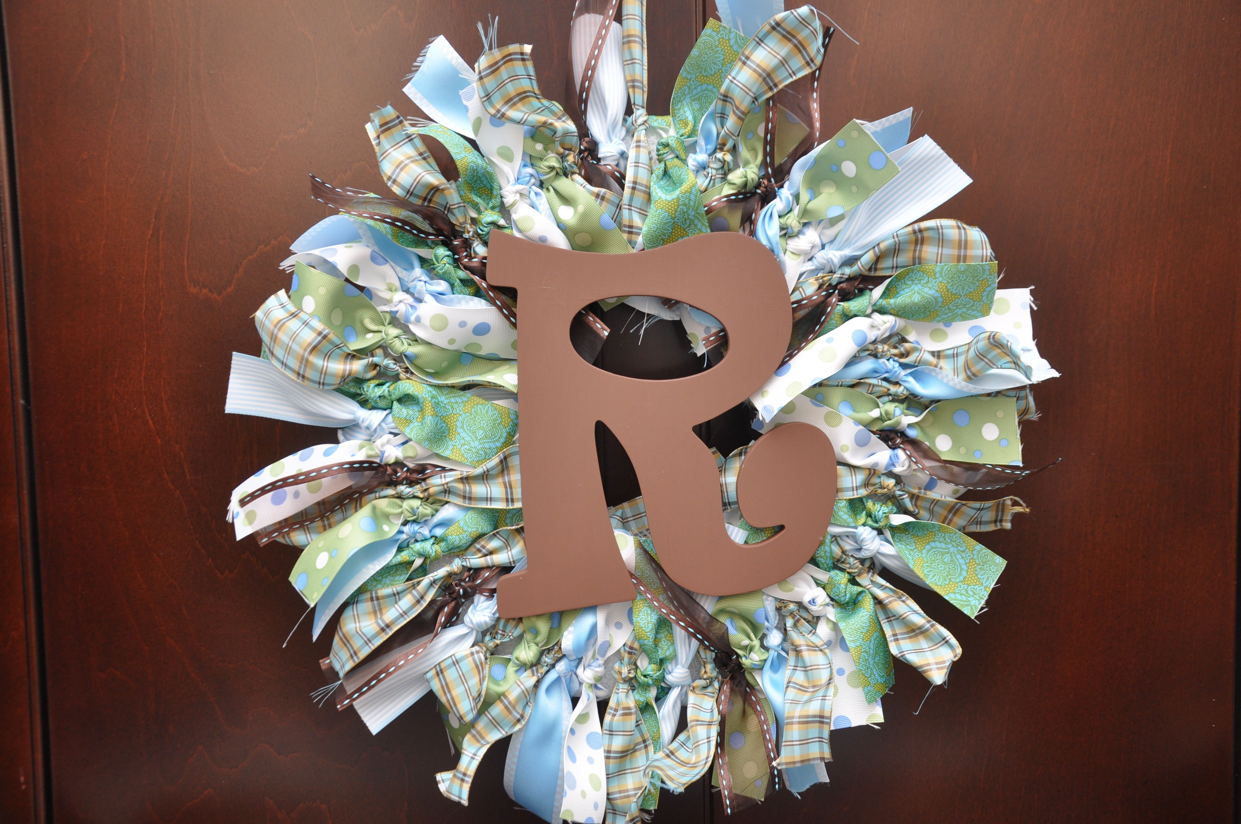 Another wreath I made..For Baby Rawling.  His nursery has an ocean theme