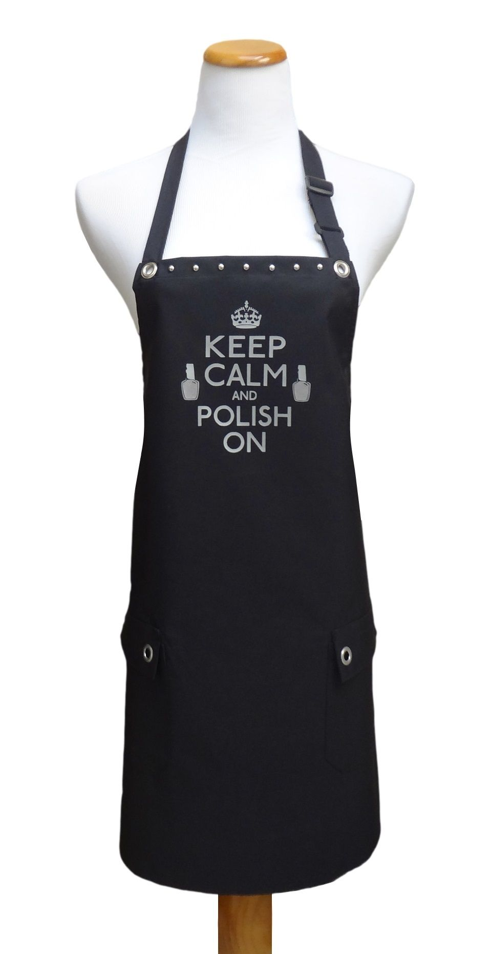 White apron for lab - Keep Calm And Polish On Apron From Trendysalonaprons Com
