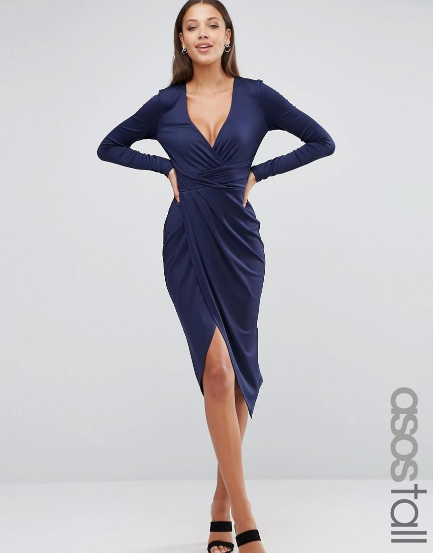 Asos Tall Asos Tall Long Sleeve Wrap Front Midi Dress At Asos Clothing For Tall Women Wrap Dress Midi Evening Dresses Short [ 1110 x 870 Pixel ]