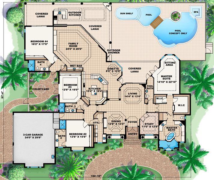 One Story Mediterranean House Plans: Mediterranean Style House Plan