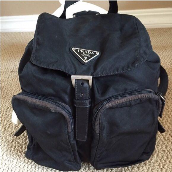 c3c1e4126566dc Prada Vela Small 2 Pocket Backpack, Authentic Blk Black Prada Vela Small  Two Pocket backpack