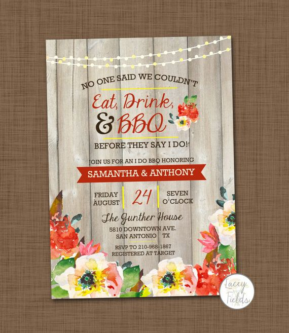 I do BBQ invitation printable BBQ wedding shower by laceyfields