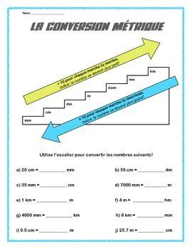 La Conversion Mtrique French Worksheet Convert Mm Cm Dm M