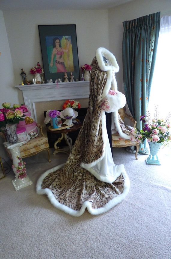 Animal Tiger print Bridal cape 83 inch Ivory by capeandcrown13