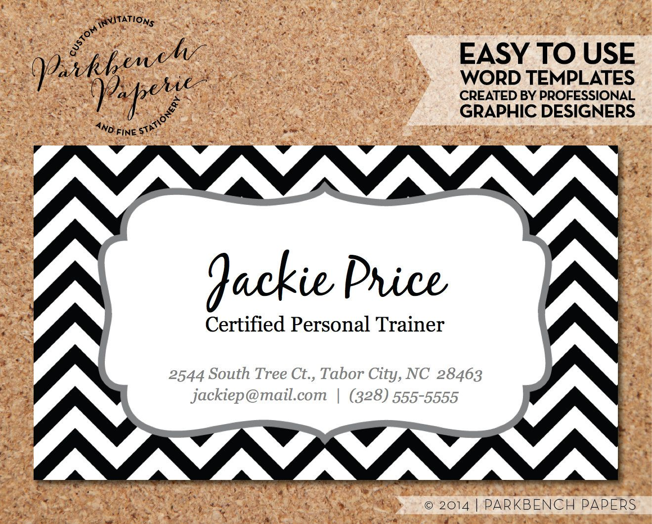 Business Card Template Black Chevron Frame DIY Editable Word - Diy business card template