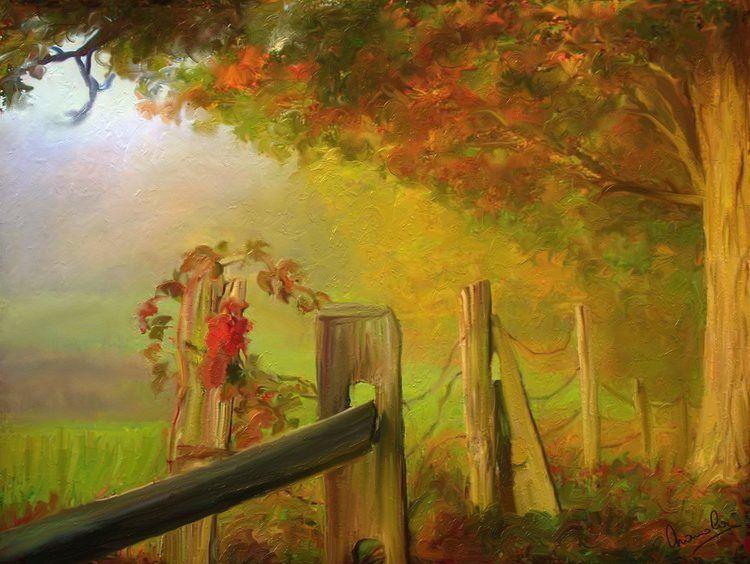 Paysage d'automne   Peinture   Pinterest   Paintings