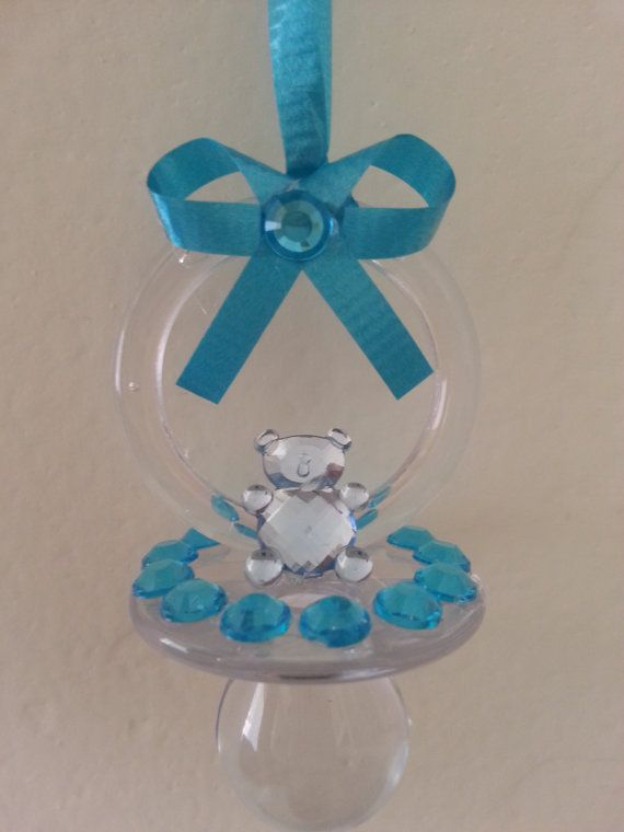 10 Blue Clear Baby Shower Pacifier Necklace Dont Say Baby Baby