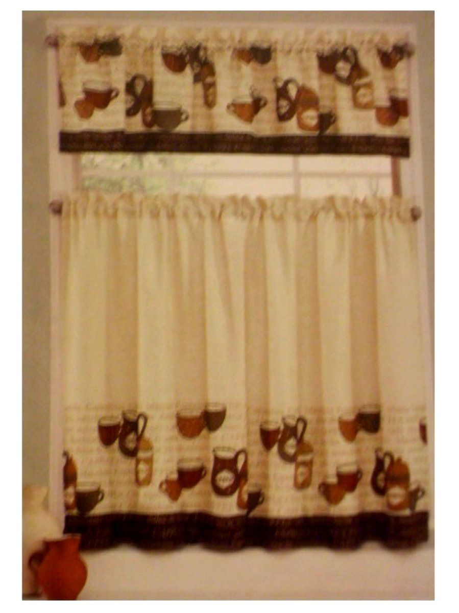 Coffee Cup Kitchen Curtains Tiers Valance Complete Set This