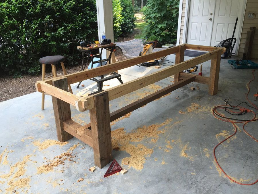 10 Foot Farm Table With Reclaimed Barn Wood By Mharper90 Lumberjocks Com Woodworking Community Diykitchentable With Images Wood Patio Furniture