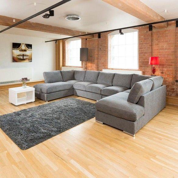 Extra Large New Sofa Set Settee Corner Group U Shape Grey ...