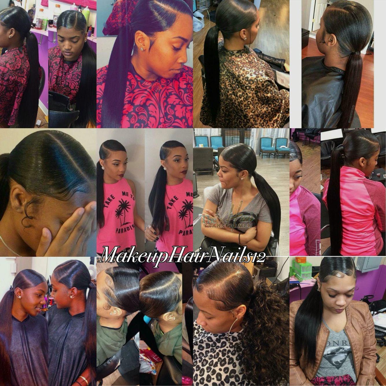 sleek side part ponytail   black women & hair   curly