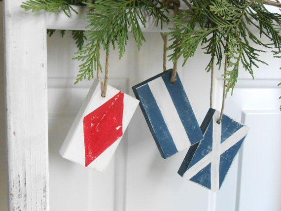 3 Nautical Flag Ornaments - Nautical Wall Art - Nautical Nursery