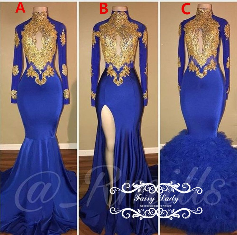 8d54146f4cca Exquisite Gold Appliques Beads Long Sleeves Mermaid Prom Dresses ...