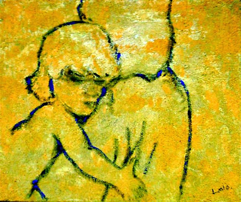 """Lalo Relinque - """"Maternidad""""  - Colección Texturas - T.Mixta.Lienzo - 38x46 cm"""