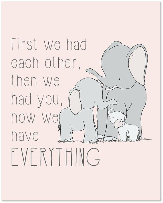 Everything Designish Baby Boy S Nursery: Now We Have Everything Quote, Elephant Family Nursery Art