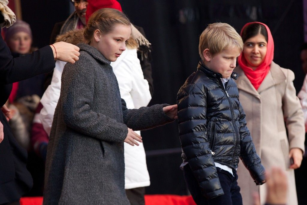 Save the Children's Peace Prize Party 2014, Oslo, Norway. (LtoR) Princess Ingrid Alexandra, Prince Sverre Magnus, and Malala Yousafzai.