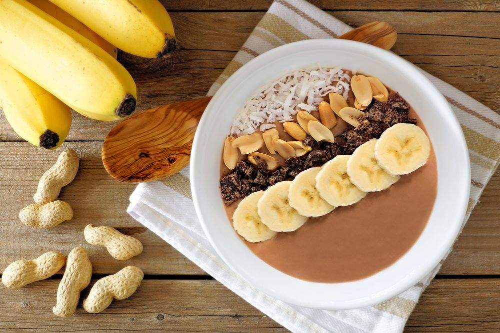 Image result for chocolate peanut butter and banana smoothie bowl