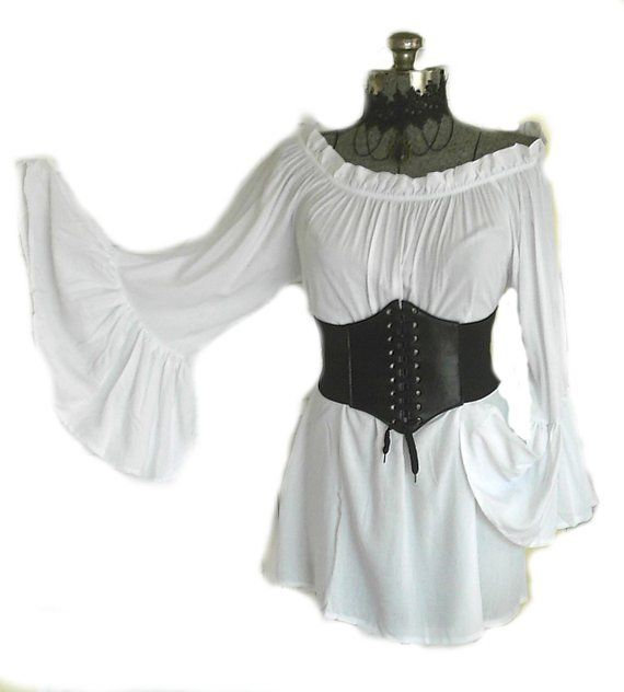 17471aa1418 Renaissance Blouse White Chemise Pirate Medieval Peasant Top Steampunk Bell  Sleeve Off Shoulder Long