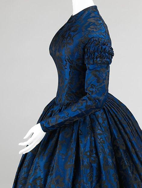 Evening dress, Date: 1850–52 Culture: American Medium: silk
