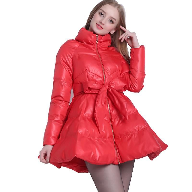 22e0d6bd8 2017 Parka Coat Bow Waist Fluffy Skirt A Warm Coat Jacket Parkas For ...