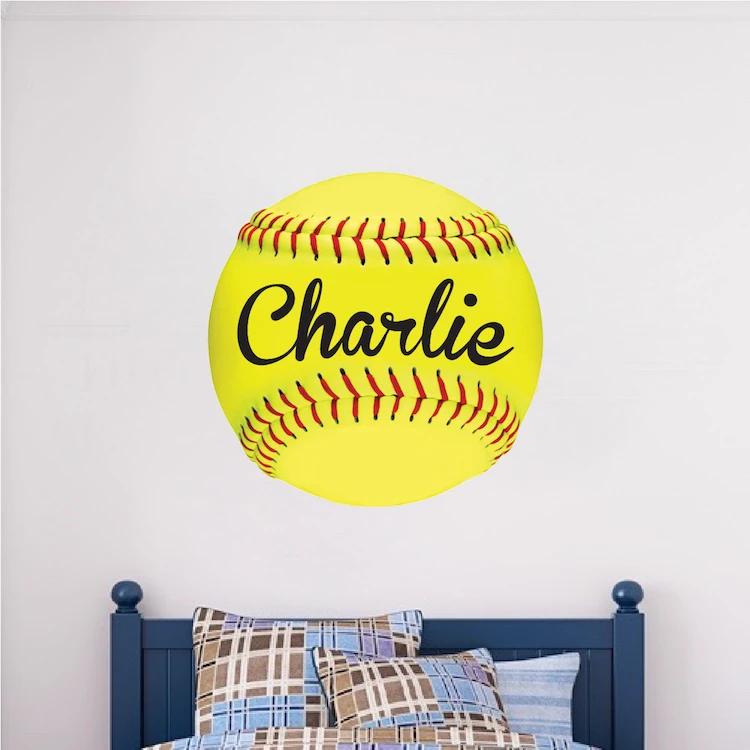 Custom Softball Wall Decal Personalized Name Soft Ball Mural Kids