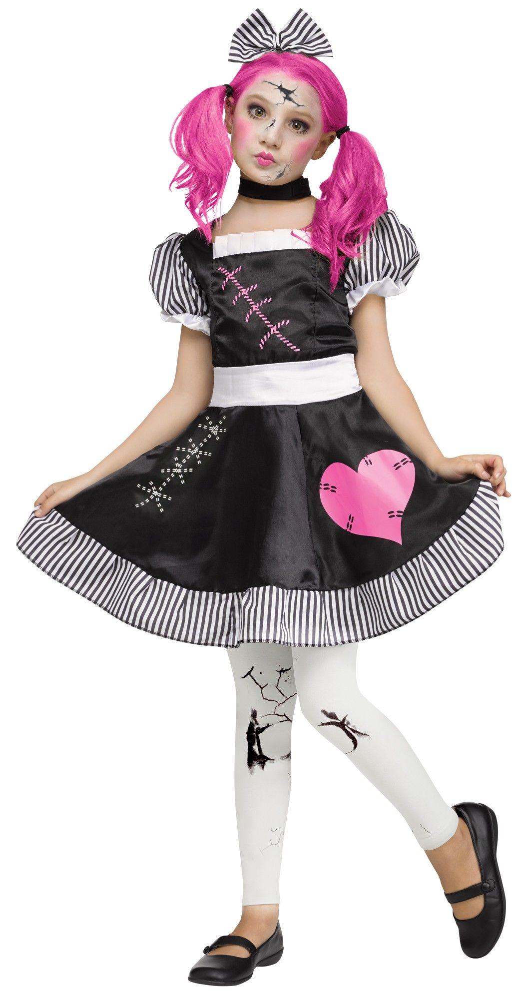broken doll teen girls costume includes: dress, choker, hair bow