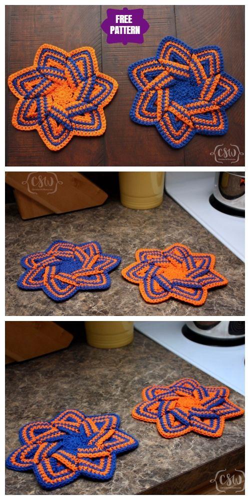 Crochet Swirl Flower Potholder Free Crochet Patterns - Video ...