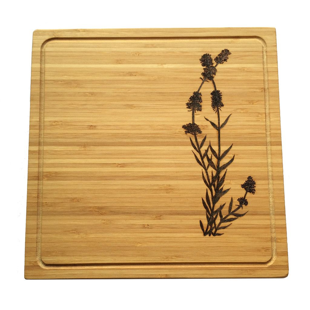 Lavandula Cutting Board // lavender cheese board Pyrography wood