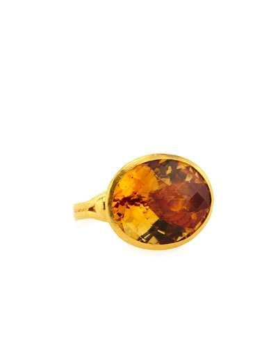 Oval Citrine Cocktail Ring, Size 6.5