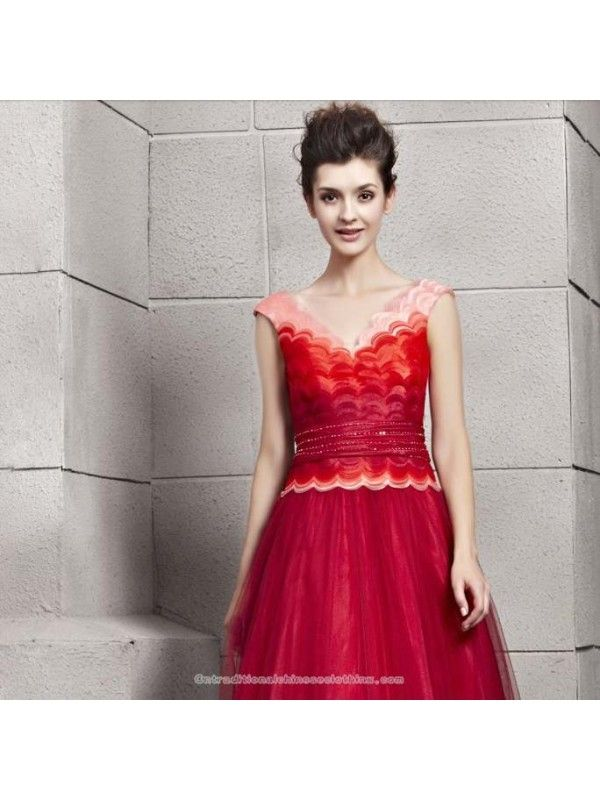 Multi color organza V-neck floor length evening gown gradient red ...