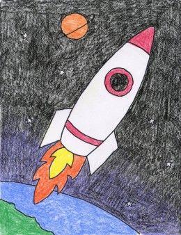 How To Draw A Rocket Rocket Art Space Art Projects Art