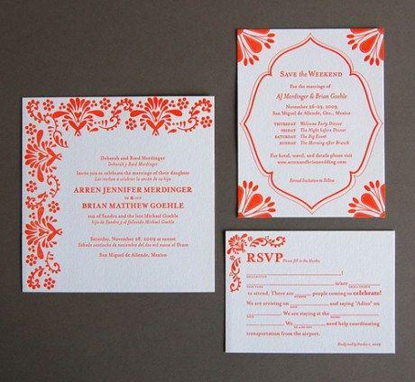 Mexican Tile Letterpress Wedding Invitations