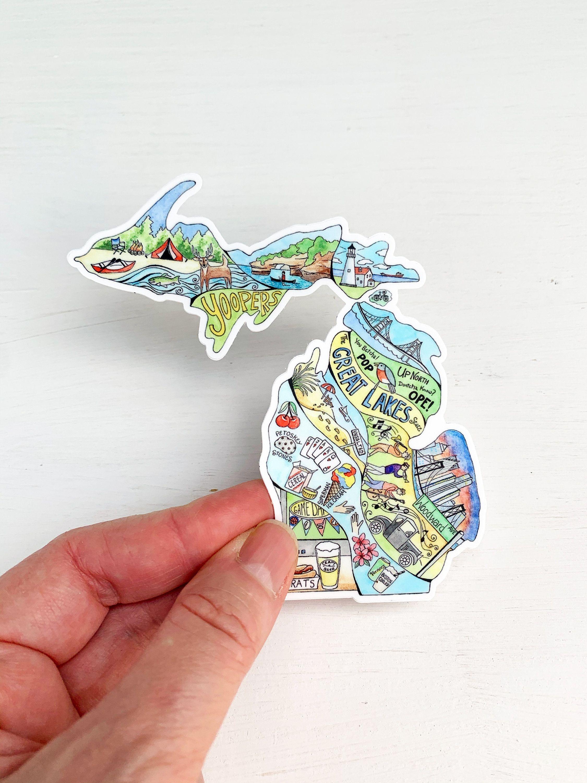 Michigan Vinyl Sticker Michigan Decal Laptop Decal Phone Etsy In 2021 Michigan Sticker Michigan Decal Vinyl Sticker [ jpg ]
