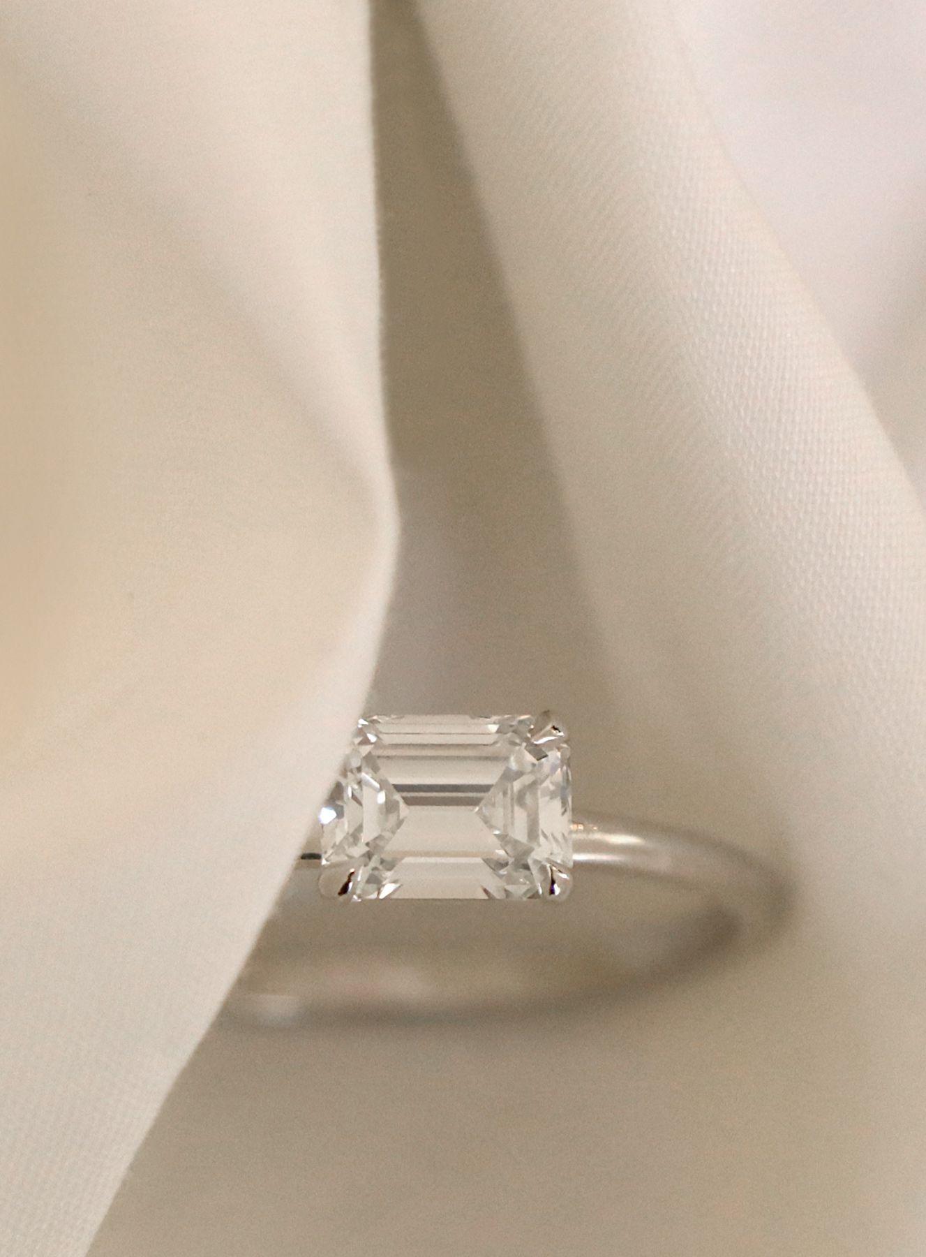 VOW Vrai & Oro Wedding Emerald Cut Diamond Engagement Ring 18k