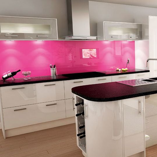Pink Kitchen Walls pink and white kitchen colour schemes ideas for kitchen | leah