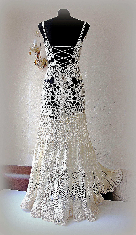Unique Wedding Dress Hand Crochet Lace Bridal Gown Beach Etsy Crochet Wedding Dresses Crochet Wedding Dress Pattern Wedding Dresses Unique [ 3000 x 1742 Pixel ]