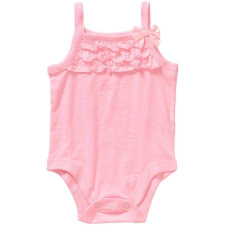 019ad8f5e Garanimals Newborn Baby Girl Lace Ruffle Cami Bodysuit, Size: 0 - 3 Months,  Pink
