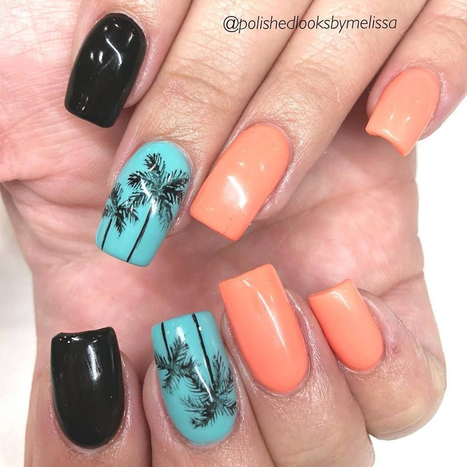 Palm Tree Nails Vacation Nails Beach Summer Nails Vacation Nails Palm Tree Nails Vacation Nails Beach