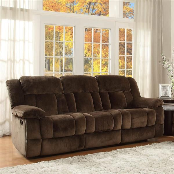 laurelton chocolate fabric double reclining sofa brown living room rh pinterest ch