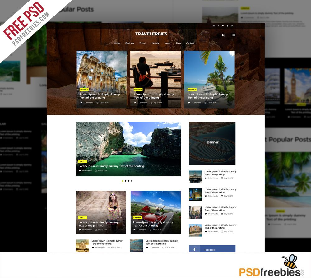 Download Travel Blog or Magazine Free PSD