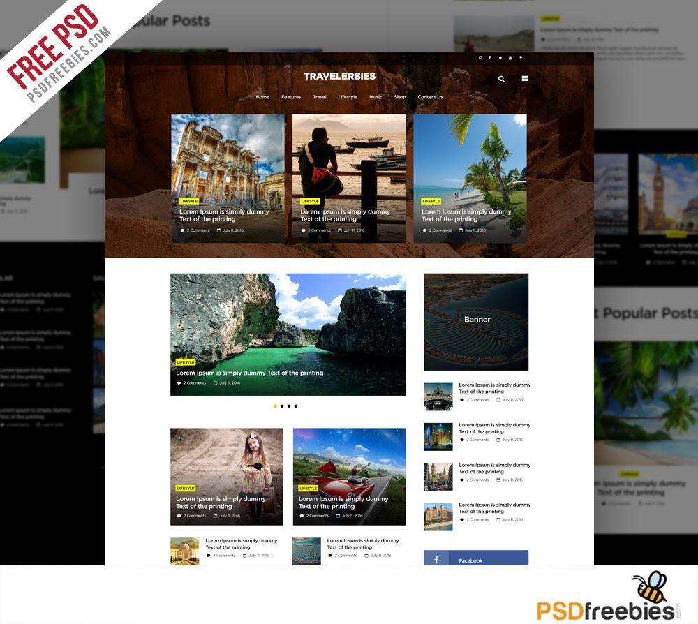 Travel Blog Or Magazine Free Psd Template Psdfreebies Com Psd Template Free Blog Templates Free Free Psd