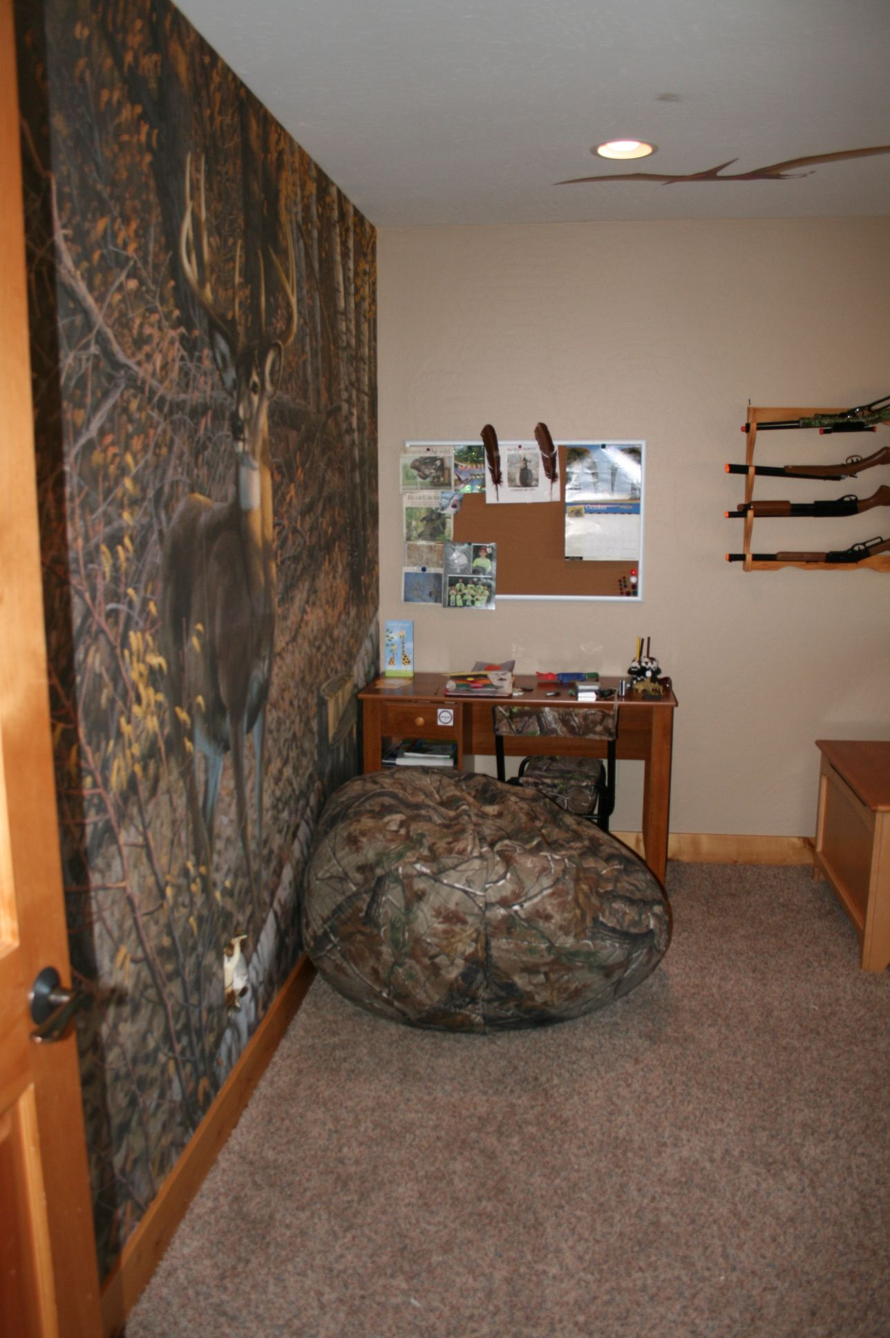 my son 39 s new hunting themed room creative rooms pinterest bedroom bedroom themes and room. Black Bedroom Furniture Sets. Home Design Ideas