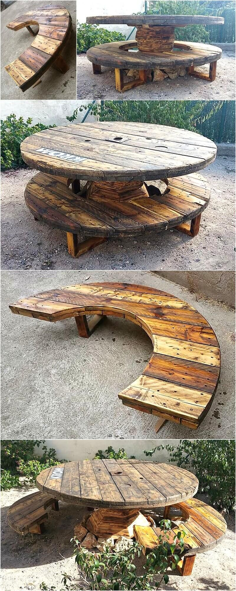 recycled pallets cable reel patio furniture idea pallet cable rh pinterest com