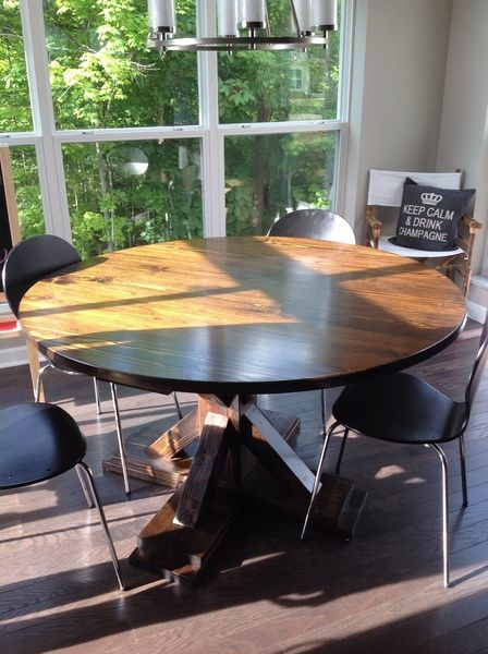 round x base table dark walnut stain walnut stain and dark walnut rh pinterest com