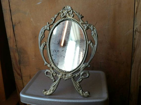Vintage Standing Brass Mirror/ Small Standing Mirror/ Small Brass Vanity  Mirror/ Small Makeup Mirror/ Small Easel Back Mirror/ Vanity Mirror Home Design Ideas