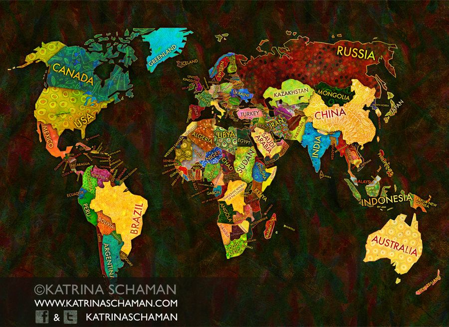 Unique World Map Illustration by kschaman on