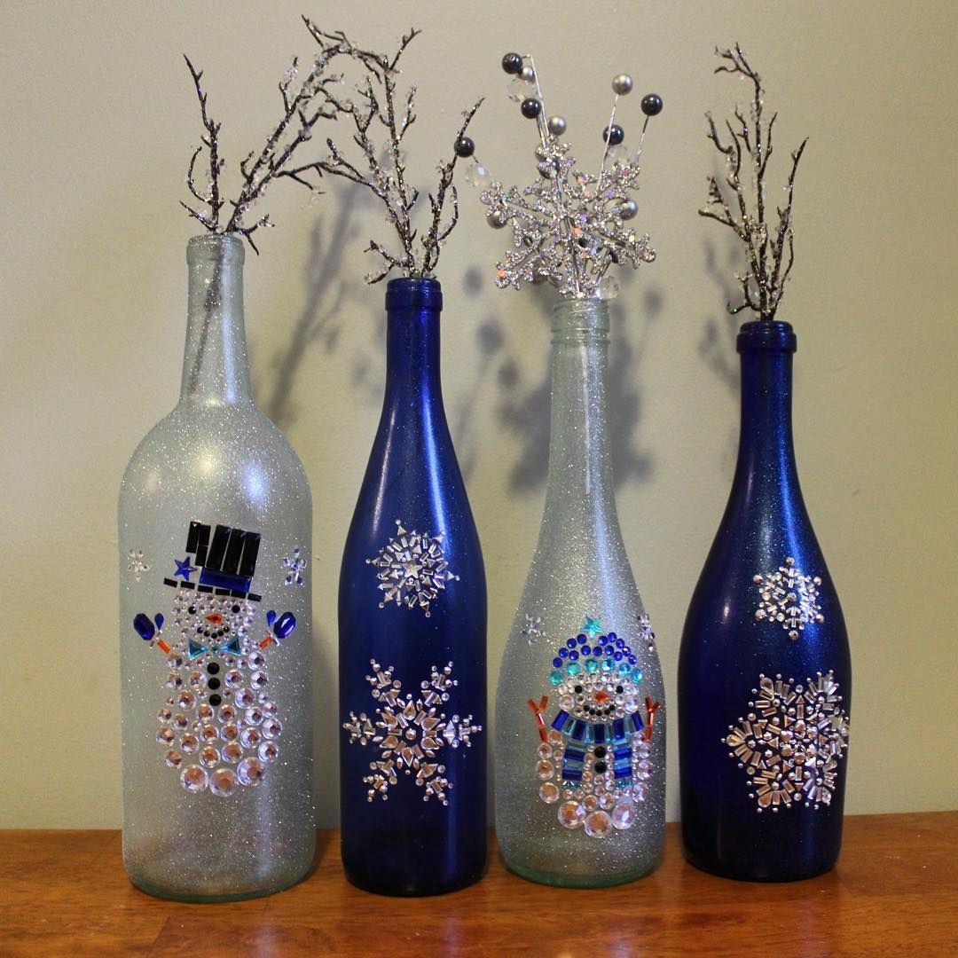 Silver Snowflake u0026 Snowman Wine Bottle decorations