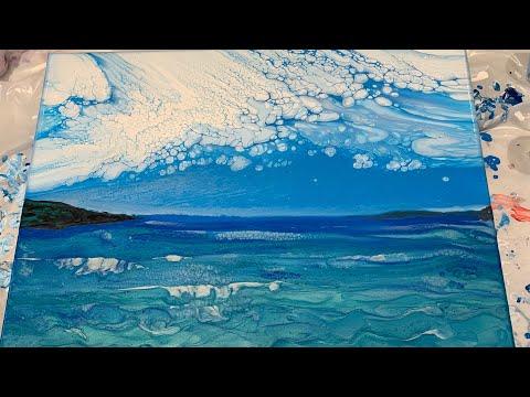 185 Landscape Ocean W Cloudy Effect Fluid Acrylic Pour Painting Flow Art Youtube Flow Painting Pour Painting Pouring Painting